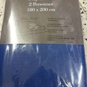 drap housse 100% coton pour lit extra grand 1.80*2m - duosplit bic