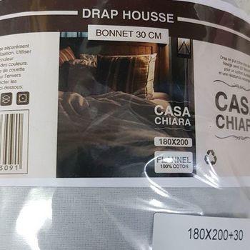 drap housse flanelle pour lit extra grand 1.80*2m - casa gris clair