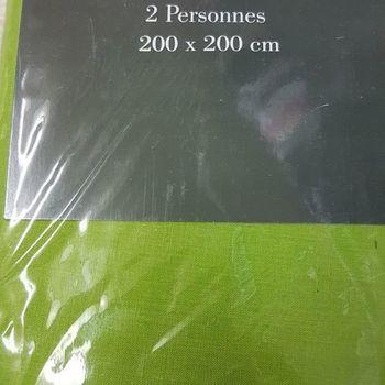 drap housse 100% coton pour extra grand lit - 2*2m - gentle vert