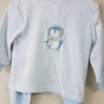 pyjama velours rasé - pingouin - ciel - reste 3 ans 4 ans 6 ans
