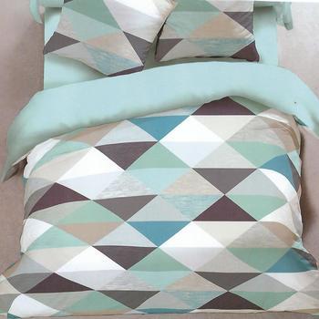 drap plat + drap housse + 1 taie pour lit d'1 personne - flanelle - triangles turquoise