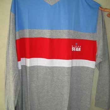 pyjama coton jersey col V pour homme - cambier - gris/ciel/rouge - reste XL - XXL - 3XL