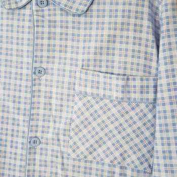 pyjama boutonné flanelle pour homme - # bleu ciel biais - reste M