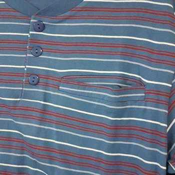 pyjama coton jersey 3 boutons == rouge fond bleu pour homme - reste S - M - L