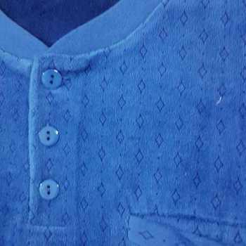 pyjama velours rasé pour homme - 3 boutons losanges bleu - reste M - L