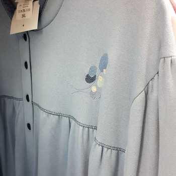 robe de nuit molletonné pour dame - col mao fleur jeans - fabrication belge - reste 3XL