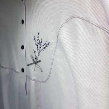 robe de nuit cotelé poly-coton pour dame - qualité belge - noeud parme - reste 3xL