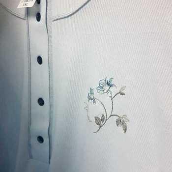 liquette cotelé poly-coton pour dame - catini - qualité belge - fleur ciel - reste XXL
