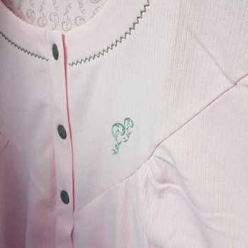 robe de nuit cotelé poly-coton pour dame - arabesque saumon - S à XXL à partir de