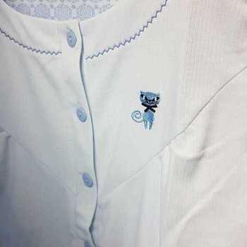 robe de nuit cotelé poly-coton pour dame - chat ciel - S - XL - XXL