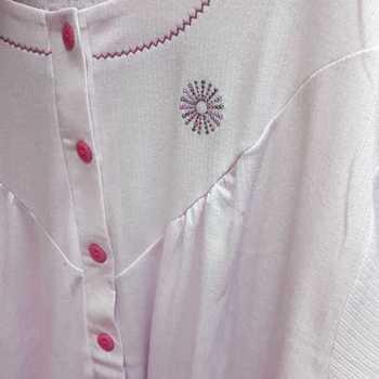 robe de nuit cotelé poly-coton pour dame - étoile rose - reste S & XL