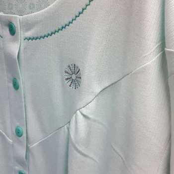 robe de nuit cotelé poly-coton pour dame - étoile vert menthe - reste M & XL à partir de