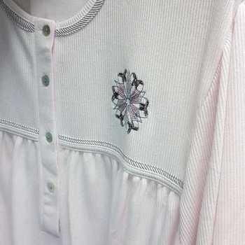 robe de nuit cotelé poly-coton pour dame - qualité belge fleur rose - reste XL