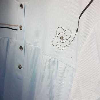 robe de nuit cotelé poly-coton pour dame - qualité belge lignes ciel - reste XXL