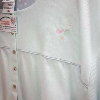 robe de nuit cotelé poly-coton pour dame - qualité belge - pastel menthe à partir de - S M XL 3XL 4XL
