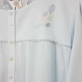 robe de nuit cotelé poly-coton pour dame - qualité belge - pastel ciel reste S & M