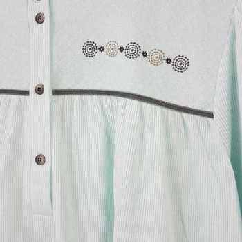 robe de nuit cotelé poly-coton pour dame - qualité belge - mat turquoise XXL 3XL 4XL