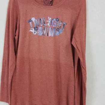 t-shirt coton longues manches pour dame - moucheté rouille en PROMO