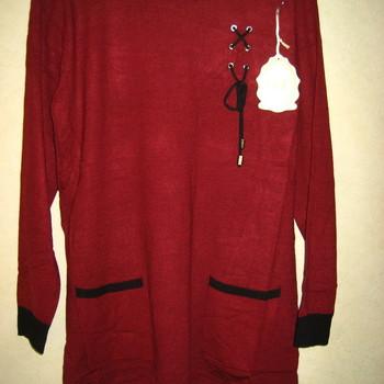 tunique douce avec lacet + poches bordeau pour dame EN PROMO 42/44