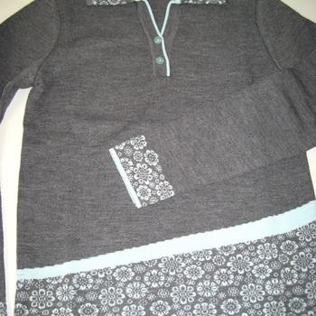 pull polo dame avec laine en gris 38/40 42/44 46/48 - belle qualité !