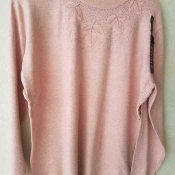 pull tricot ras du cou pour dame - feuilles - beige