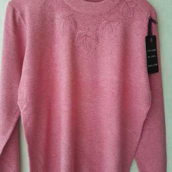 pull tricot ras du cou pour dame - feuilles - framboise