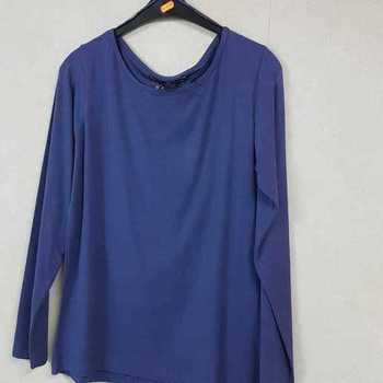 t-shirt longues manches en coton emoi fashion pour dame EN PROMO - bleu 42/48