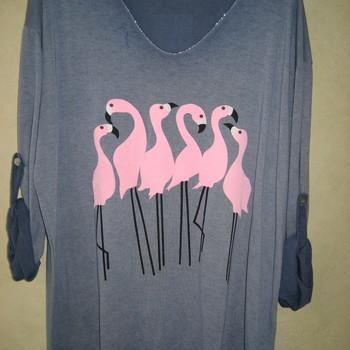 pull léger tricot avec flamands roses pour dame EN PROMO - jeans