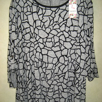 blouse évasée gris noir pour dame - T50/56 lignes ondulées