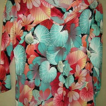 blouse fluide imprimé noeud veti style pour dame bordeau - 50/52