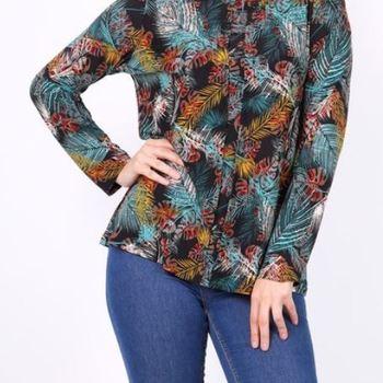 blouse fluide vetistyle pour dame noir/turquoise 54/56