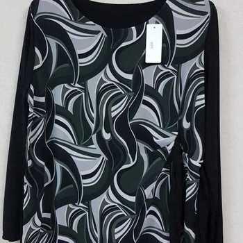 blouse longues manches 70's pour dame - noir/vert 46/52