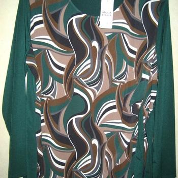 blouse longues manches 70's pour dame - vert bouteille 46/52