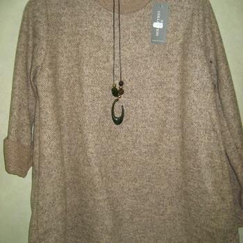 pull tricot mohair avec collier hameçon pour dame - bleu