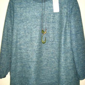 pull tricot mohair avec collier hameçon pour dame - vert