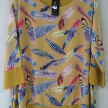 blouse avec plumes pour dame - ocre T46/52
