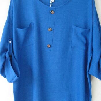 blouse chemisier uni pour dame - grandes tailles - bleu 46/52