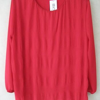 blouse voile cloqué pour dame - rouge 46/52