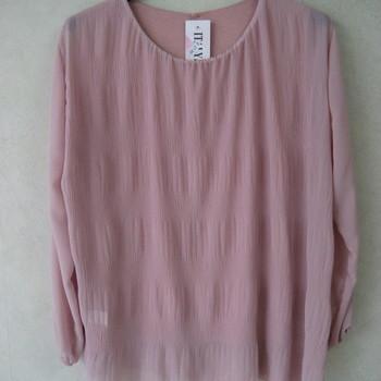 blouse voile cloqué pour dame - rose 46/52