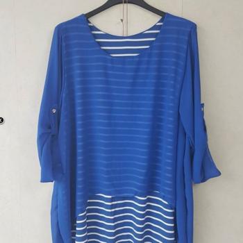 blouse manches 3/4 ou longues marin voilage pour dame avec collier - bleu 46/52