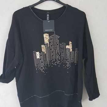 blouse coton avec building - noir 46/52