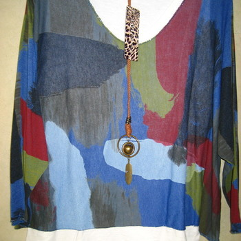 blouse tricot léger avec 1 couche blanche en-dessous - bleu avec collier