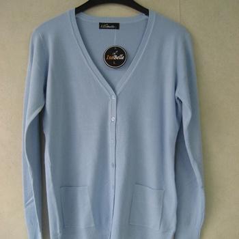 gilet boutonné avec poches pour dame - doux tricot EN PROMO - ciel 40/44