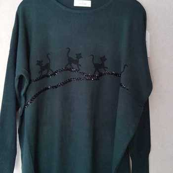pull chats pour dame - 46/54 - vert