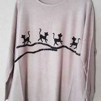 pull chats pour dame - 46/54 - beige