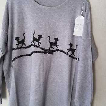 pull chats pour dame - 46/54 - gris