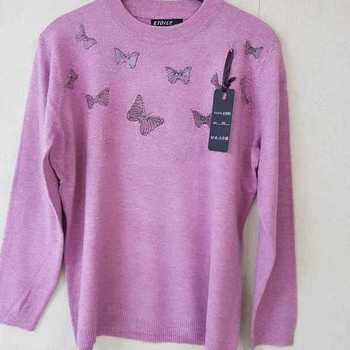 pull papillon pour dame - rose 42/44 46/48