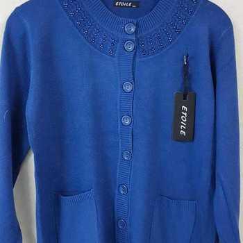 gilet boutonné avec poches - collier bleu 42/44 - 46/48