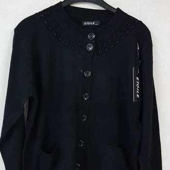 gilet boutonné avec poches - collier noir 42/44 - 46/48