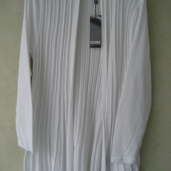 gilet plissé sans boutons pour dame - belle qualité EN PROMO - blanc - S - M - L